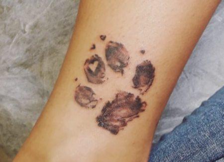 tatuaje animal huella perro