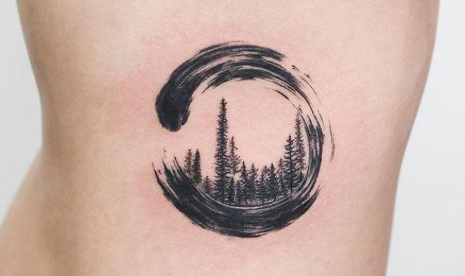 tatuaje circulo zen negro