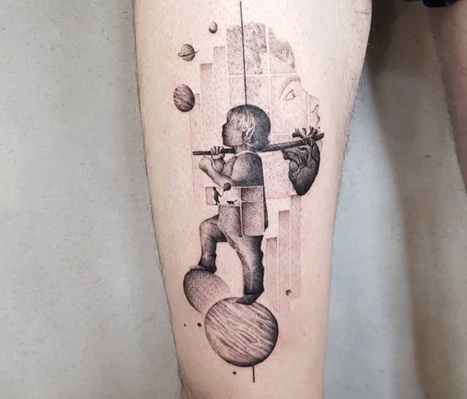 tatuaje geométrico pierna