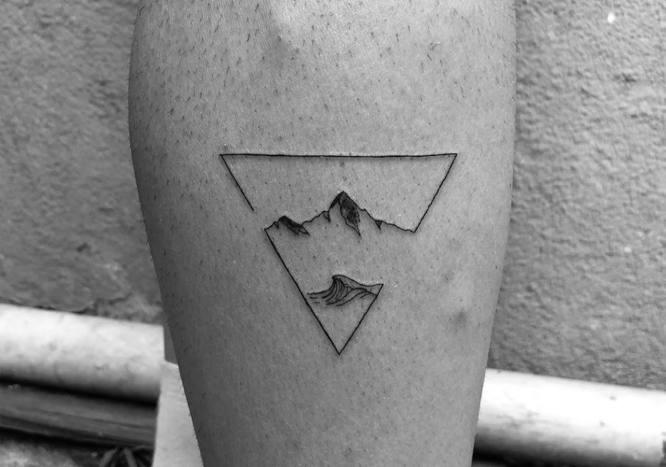 tatuaje minimalista montaña