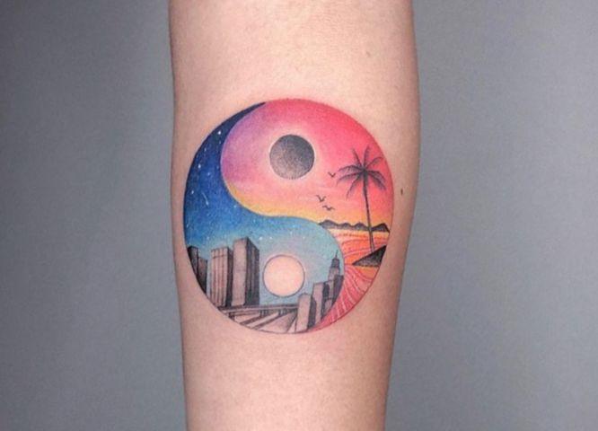 tatuaje yin yang colores