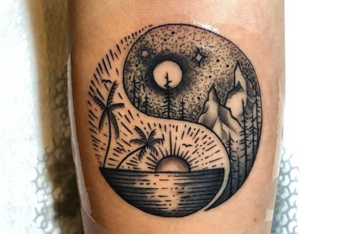 tatuaje yin yang paisajes