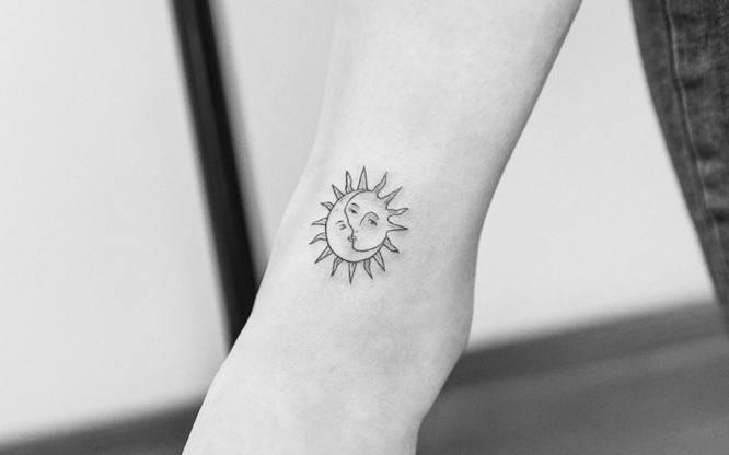 tatuajes minimalistas sol y luna