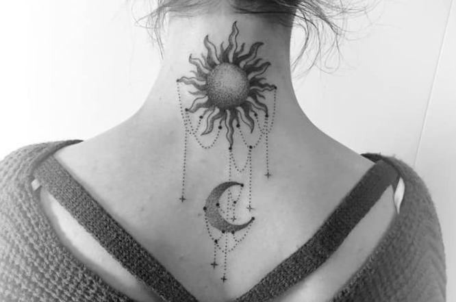 tatuaje sol luna blanco negro