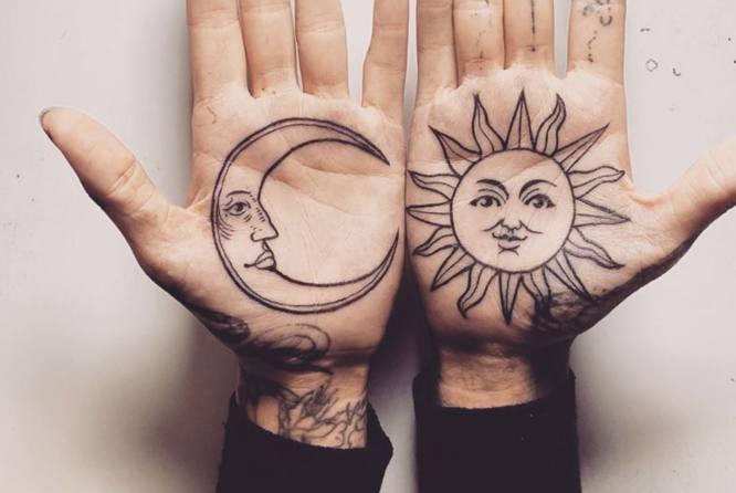 tatuaje sol luna manos