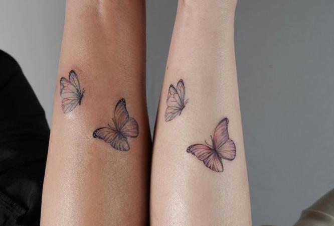 tatuajes hermanas mariposas