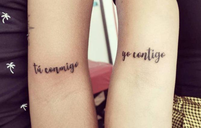 tatuajes pareja frase contigo