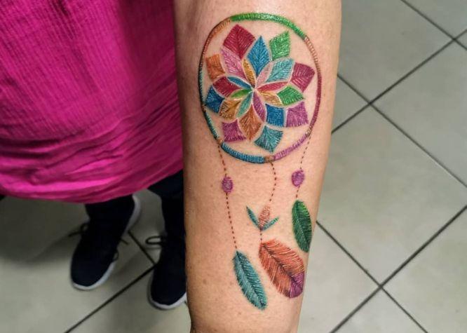 tatuaje bordado atrapasueños