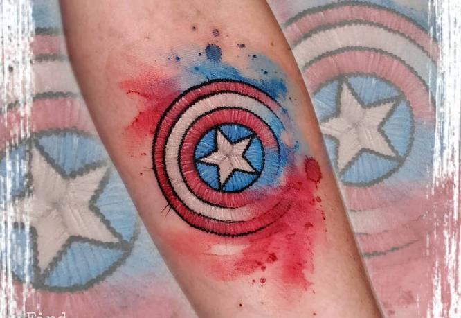 tatuaje bordado de capitán américa