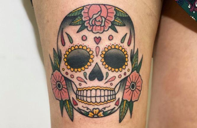 tatuaje calavera mexicana mujer
