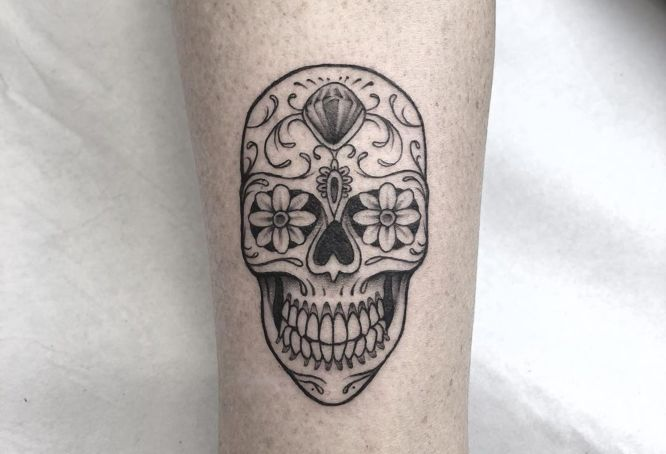 tatuajes calavera mexicana pequeña