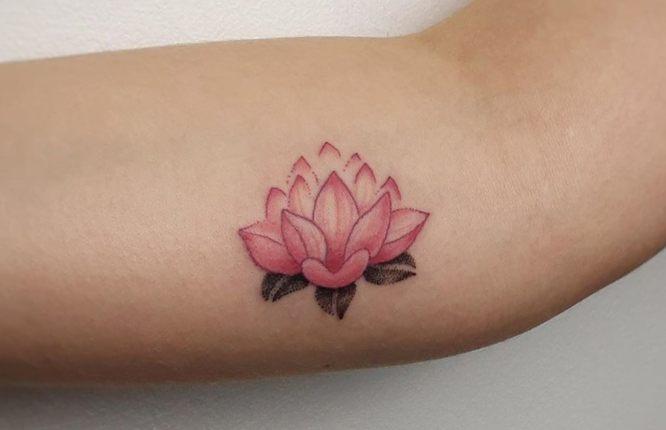 tatuaje flor de loto brazo rosa