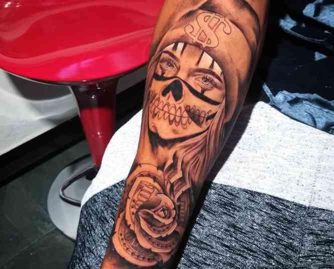 tatuajes catrina brazo hombre