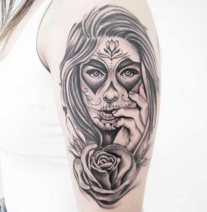tatuajes catrina mujer brazo