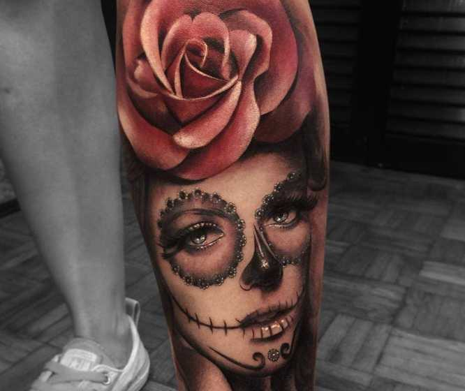 tatuajes catrina pierna realista