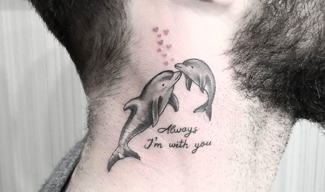 tatuajes delfin pareja chico