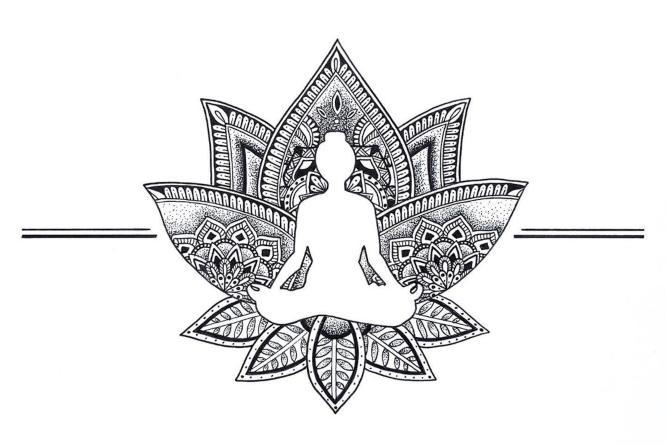 tatuajes flor de loto yoga dibujo