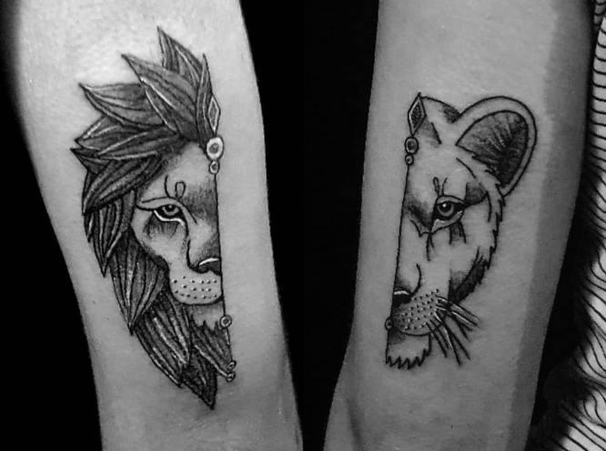 tatuajes leon leona blanco negro