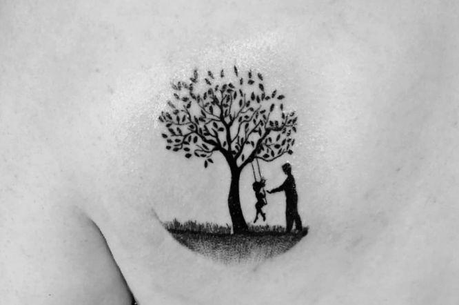 tatuajes padre e hija arbol