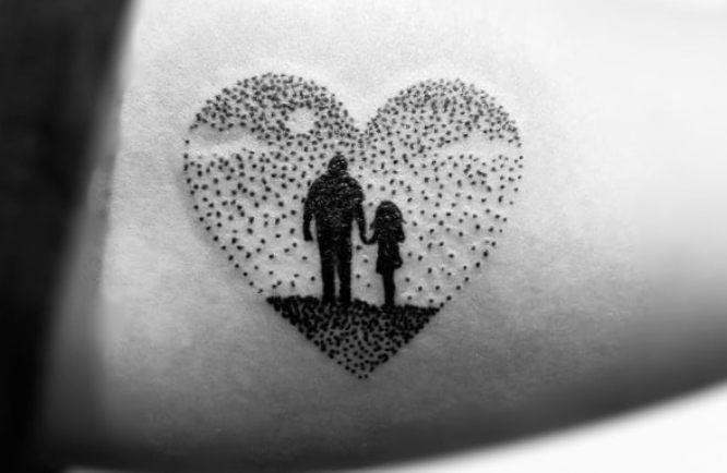 tatuajes padre e hija brazo puntillismo