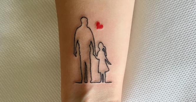 tatuajes padre e hija muñeca silueta