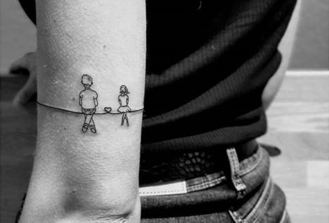 tatuajes padre e hija pequeño minimalista