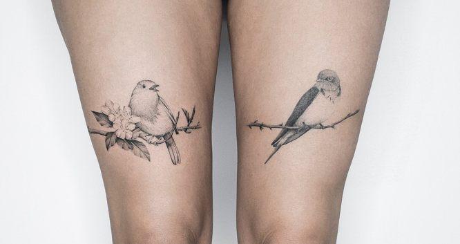 tatuajes pajaros muslos