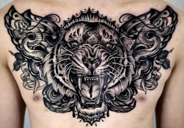 tatuajes tigres pecho