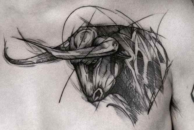 tatuajes toro pecho
