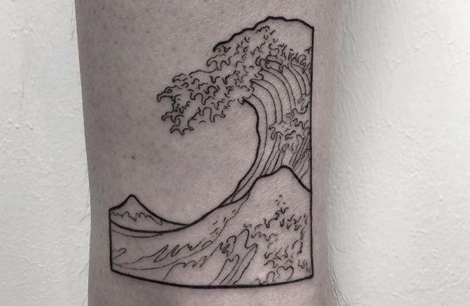 tatuajes pierna pequeño ola