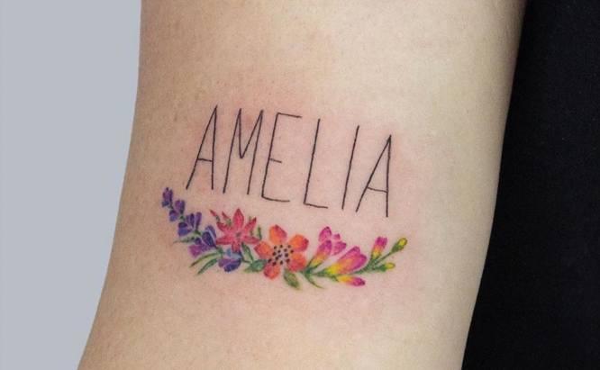 tatuajes nombres hija color flores